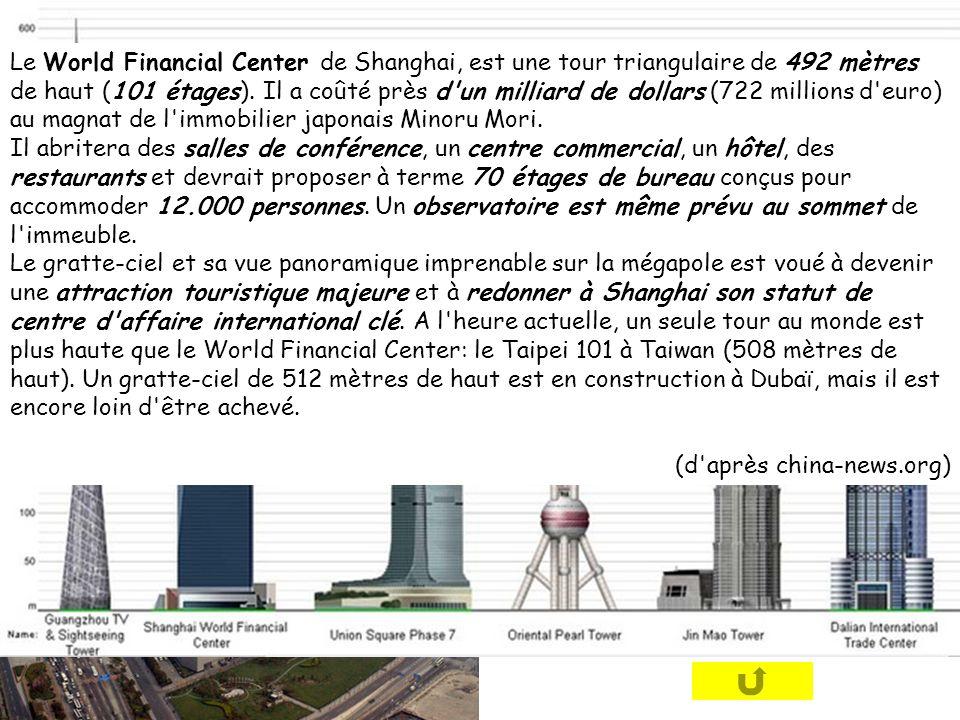 Le World Financial Center de Shanghai, est une tour triangulaire de 492 mètres de haut (101 étages). Il a coûté près d'un milliard de dollars (722 mil