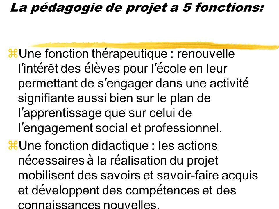 La pédagogie de projet a 5 fonctions (Marc Bru et Louis Not ): Une fonction é conomique et de production : l accomplissement du projet doit tenir comp