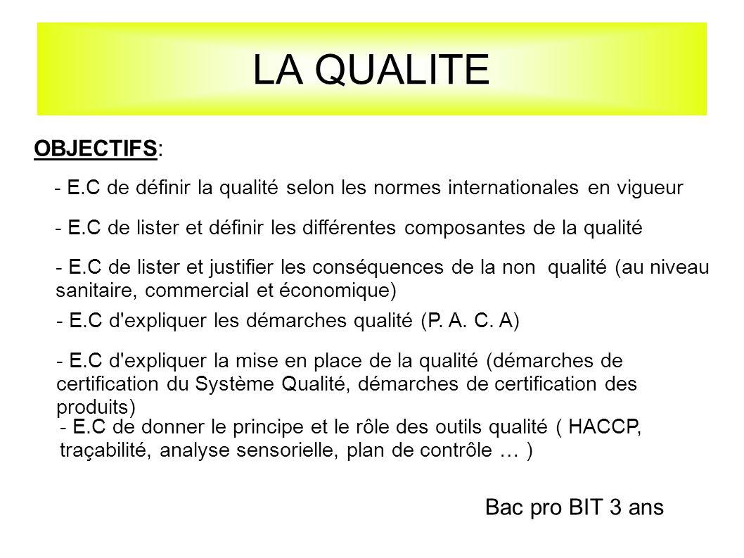 LA QUALITE - E.C de donner le principe et le rôle des outils qualité ( HACCP, traçabilité, analyse sensorielle, plan de contrôle … ) OBJECTIFS: - E.C de définir la qualité selon les normes internationales en vigueur - E.C de lister et définir les différentes composantes de la qualité - E.C de lister et justifier les conséquences de la non qualité (au niveau sanitaire, commercial et économique) - E.C d expliquer les démarches qualité (P.