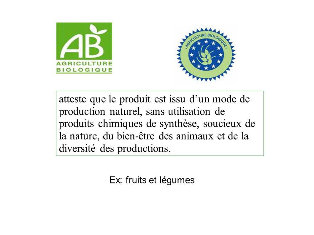 atteste que le produit est issu dun mode de production naturel, sans utilisation de produits chimiques de synthèse, soucieux de la nature, du bien-être des animaux et de la diversité des productions.