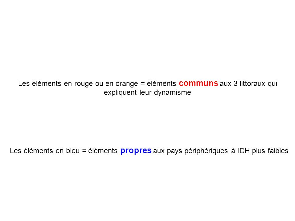 Les éléments en rouge ou en orange = éléments communs aux 3 littoraux qui expliquent leur dynamisme Les éléments en bleu = éléments propres aux pays p