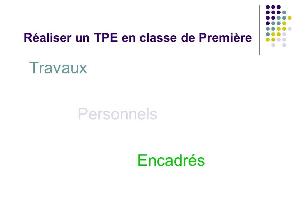 Réaliser un TPE en classe de Première Dans quelle catégorie se situait votre propre TPE ?