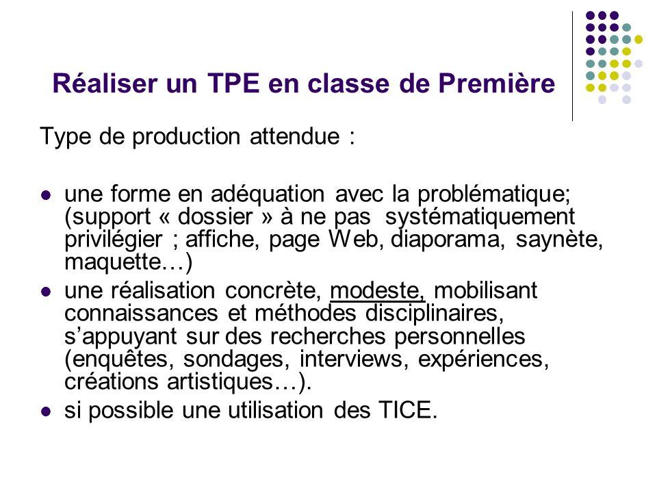 Réaliser un TPE en classe de Première Type de production attendue : une forme en adéquation avec la problématique; (support « dossier » à ne pas systé