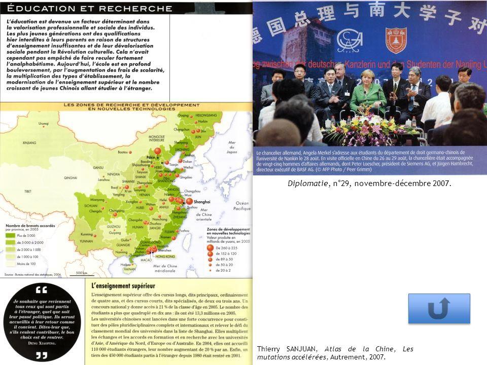 Thierry SANJUAN, Atlas de la Chine, Les mutations accélérées, Autrement, 2007. Diplomatie, n°29, novembre-décembre 2007.