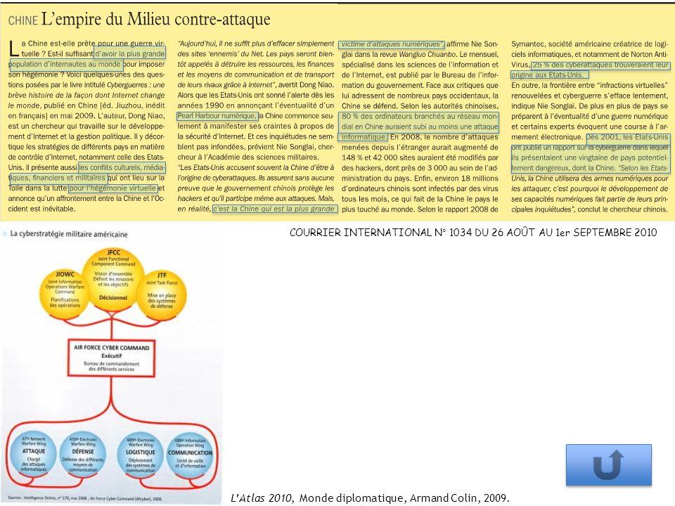 COURRIER INTERNATIONAL N° 1034 DU 26 AOÛT AU 1er SEPTEMBRE 2010 LAtlas 2010, Monde diplomatique, Armand Colin, 2009.