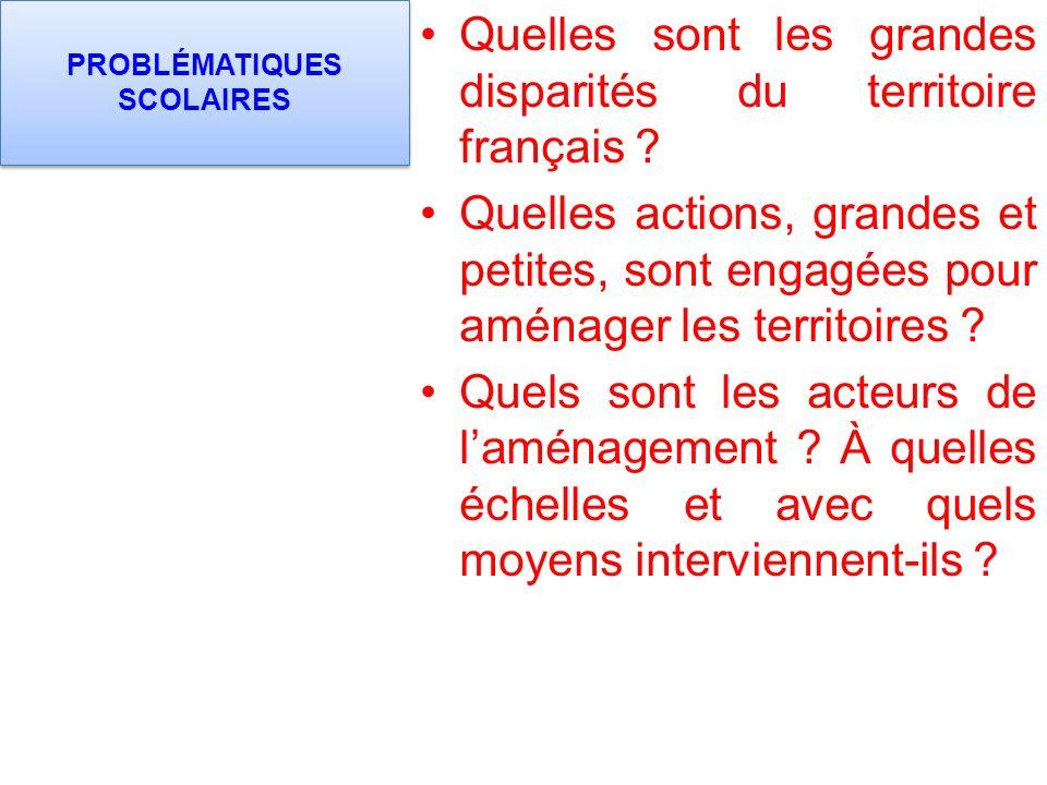 PROBLÉMATIQUES SCOLAIRES Quelles sont les grandes disparités du territoire français .