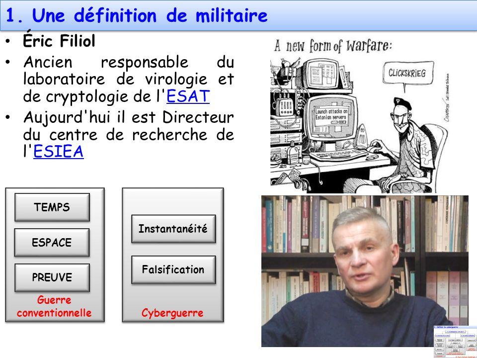Guerre conventionnelle Cyberguerre 1. Une définition de militaire Éric Filiol Ancien responsable du laboratoire de virologie et de cryptologie de l'ES