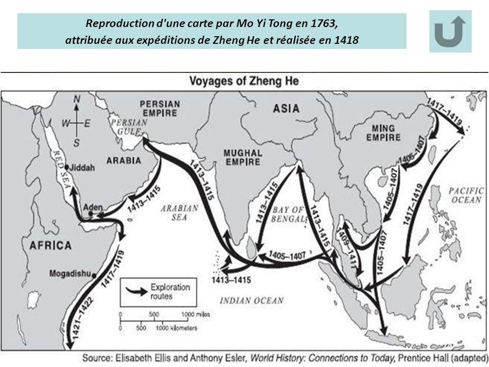 Reproduction d'une carte par Mo Yi Tong en 1763, attribuée aux expéditions de Zheng He et réalisée en 1418