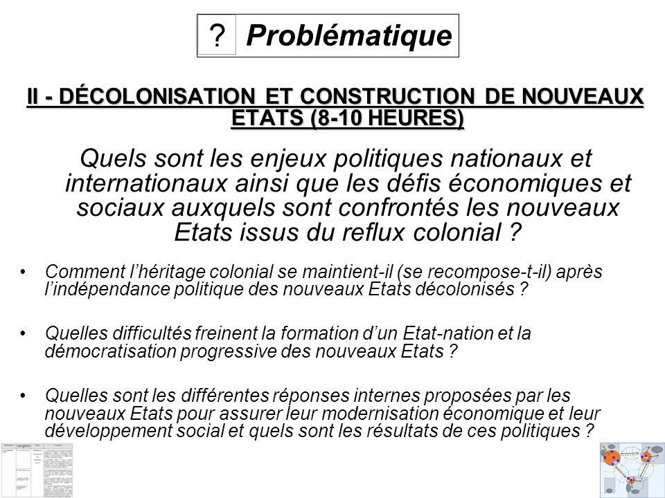 II - DÉCOLONISATION ET CONSTRUCTION DE NOUVEAUX ETATS (8-10 HEURES) Quels sont les enjeux politiques nationaux et internationaux ainsi que les défis économiques et sociaux auxquels sont confrontés les nouveaux Etats issus du reflux colonial .