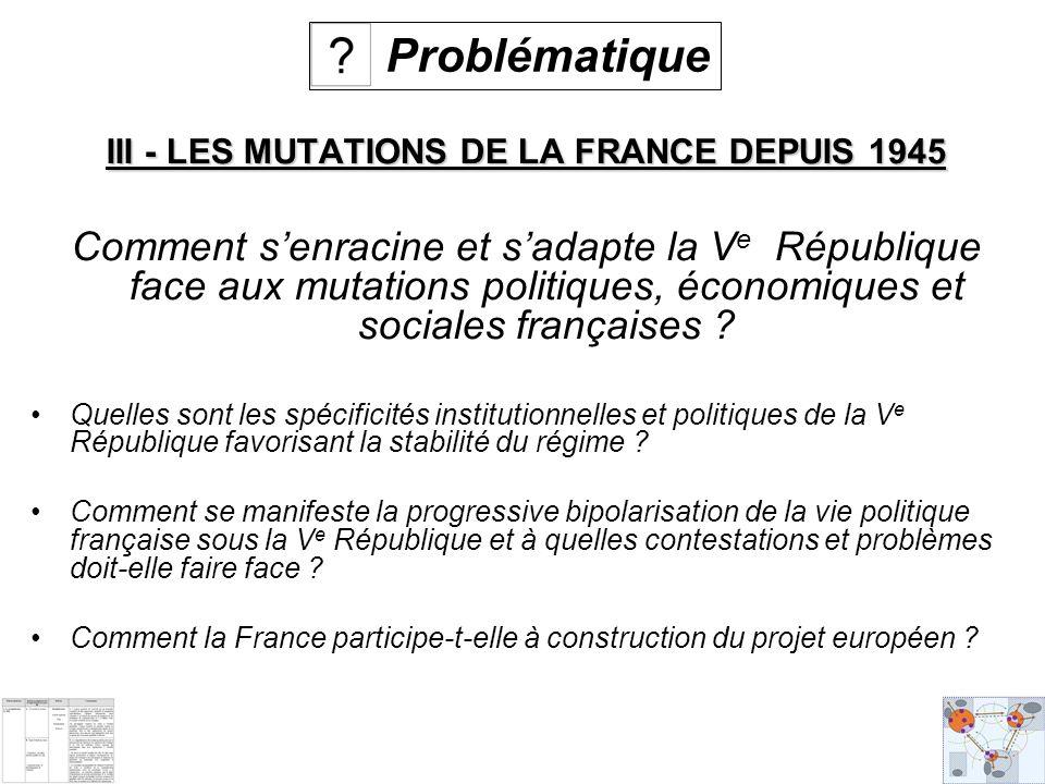III - LES MUTATIONS DE LA FRANCE DEPUIS 1945 Comment senracine et sadapte la V e République face aux mutations politiques, économiques et sociales françaises .