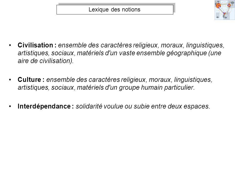 Lexique des notions Civilisation : ensemble des caractères religieux, moraux, linguistiques, artistiques, sociaux, matériels d'un vaste ensemble géogr