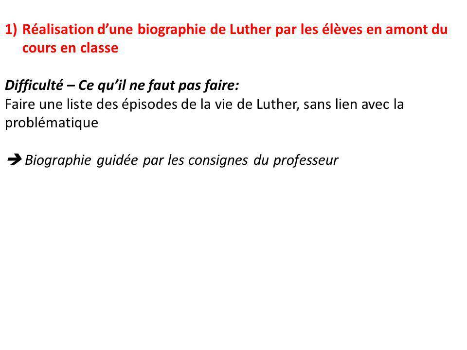 Difficulté – Ce quil ne faut pas faire: Faire une liste des épisodes de la vie de Luther, sans lien avec la problématique Biographie guidée par les co