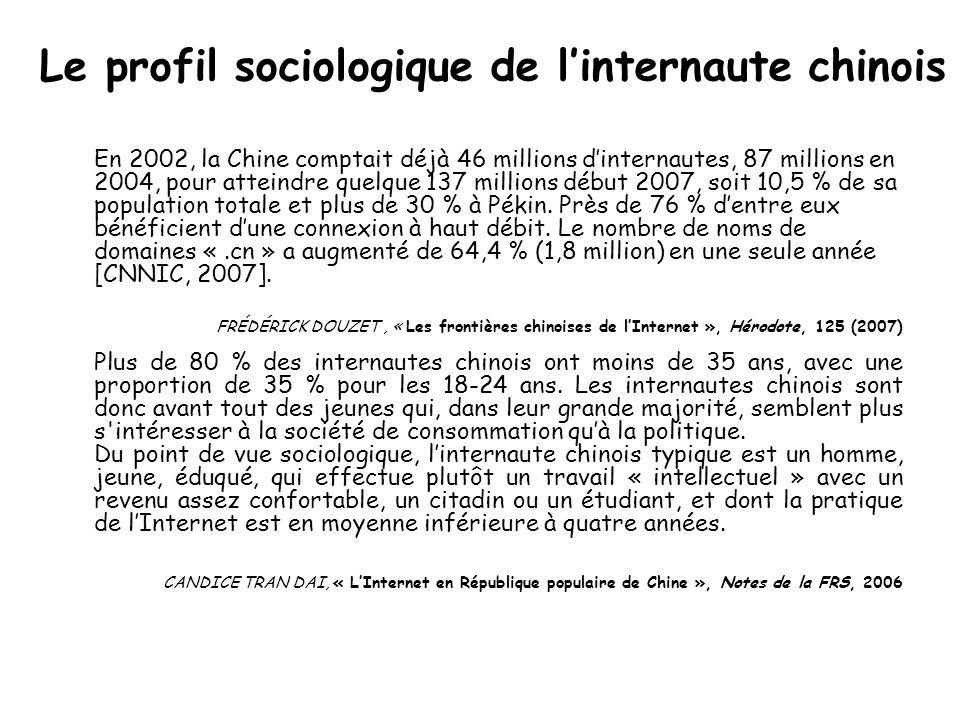 Le profil sociologique de linternaute chinois En 2002, la Chine comptait déjà 46 millions dinternautes, 87 millions en 2004, pour atteindre quelque 137 millions début 2007, soit 10,5 % de sa population totale et plus de 30 % à Pékin.