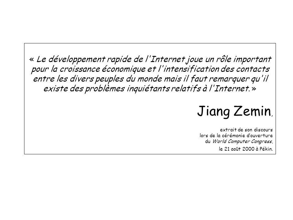 « Le développement rapide de l Internet joue un rôle important pour la croissance économique et l intensification des contacts entre les divers peuples du monde mais il faut remarquer qu il existe des problèmes inquiétants relatifs à l Internet.