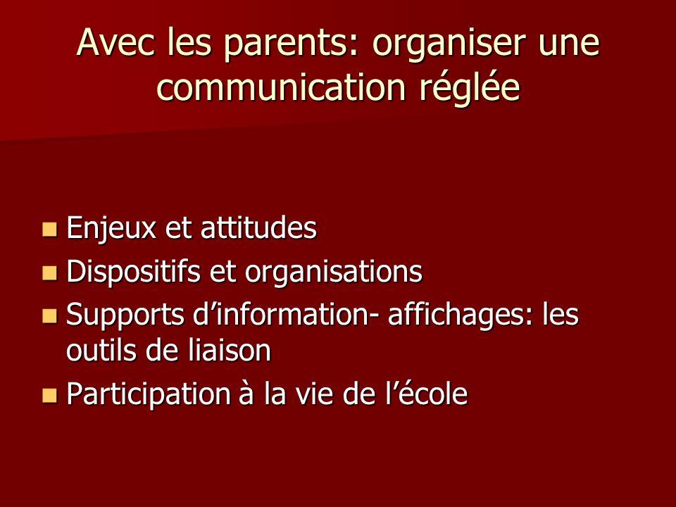 Avec les parents: organiser une communication réglée Enjeux et attitudes Enjeux et attitudes Dispositifs et organisations Dispositifs et organisations