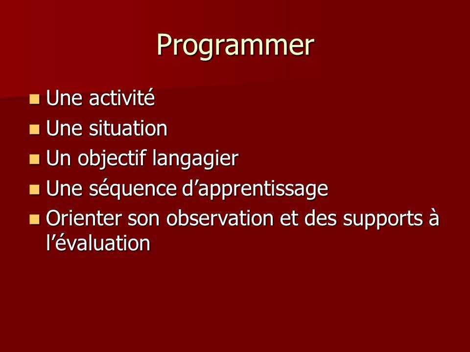 Programmer Une activité Une activité Une situation Une situation Un objectif langagier Un objectif langagier Une séquence dapprentissage Une séquence