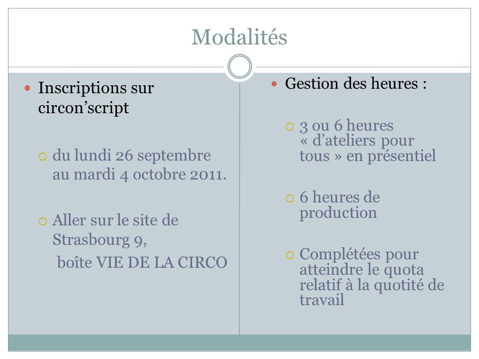 Modalités Inscriptions sur circonscript du lundi 26 septembre au mardi 4 octobre 2011. Aller sur le site de Strasbourg 9, boîte VIE DE LA CIRCO Gestio