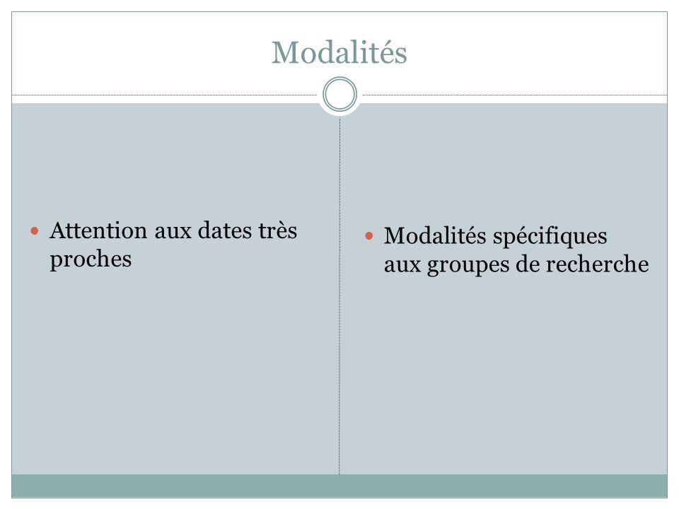 Modalités Attention aux dates très proches Modalités spécifiques aux groupes de recherche