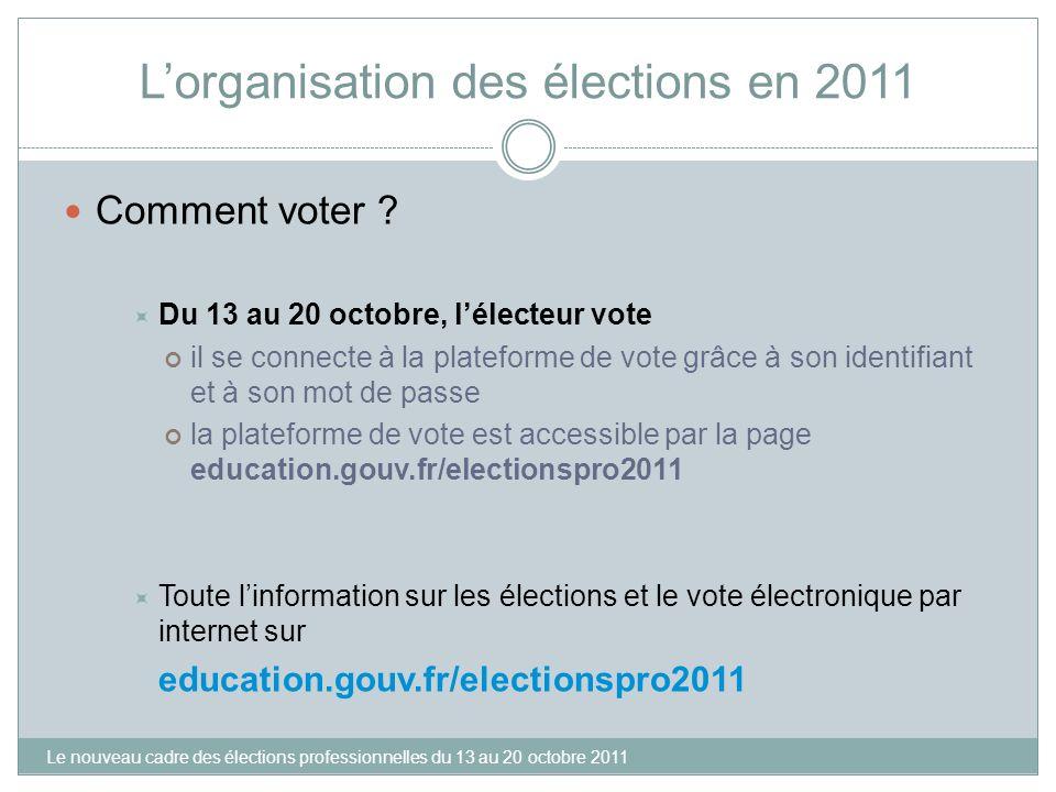 Lorganisation des élections en 2011 Comment voter ? Du 13 au 20 octobre, lélecteur vote il se connecte à la plateforme de vote grâce à son identifiant
