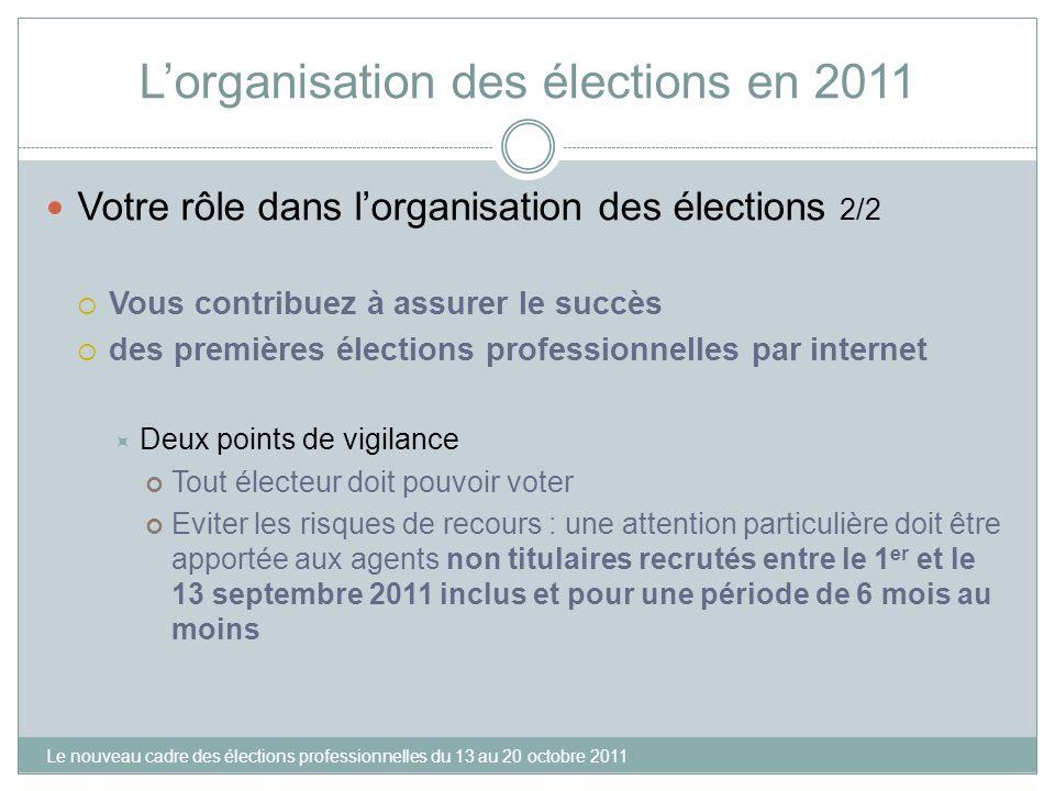 Lorganisation des élections en 2011 Votre rôle dans lorganisation des élections 2/2 Vous contribuez à assurer le succès des premières élections profes