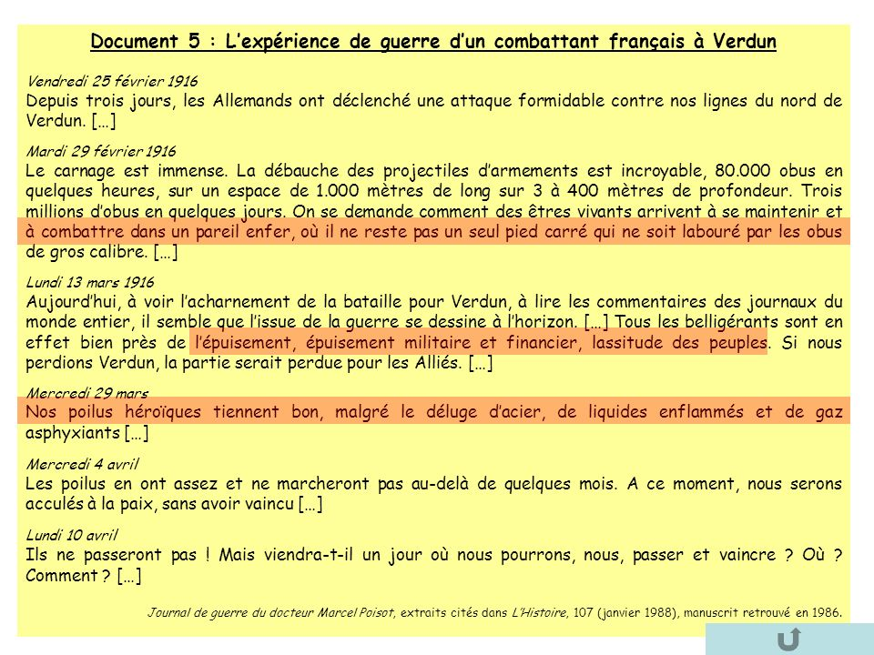 Document 5 : Lexpérience de guerre dun combattant français à Verdun Vendredi 25 février 1916 Depuis trois jours, les Allemands ont déclenché une attaq