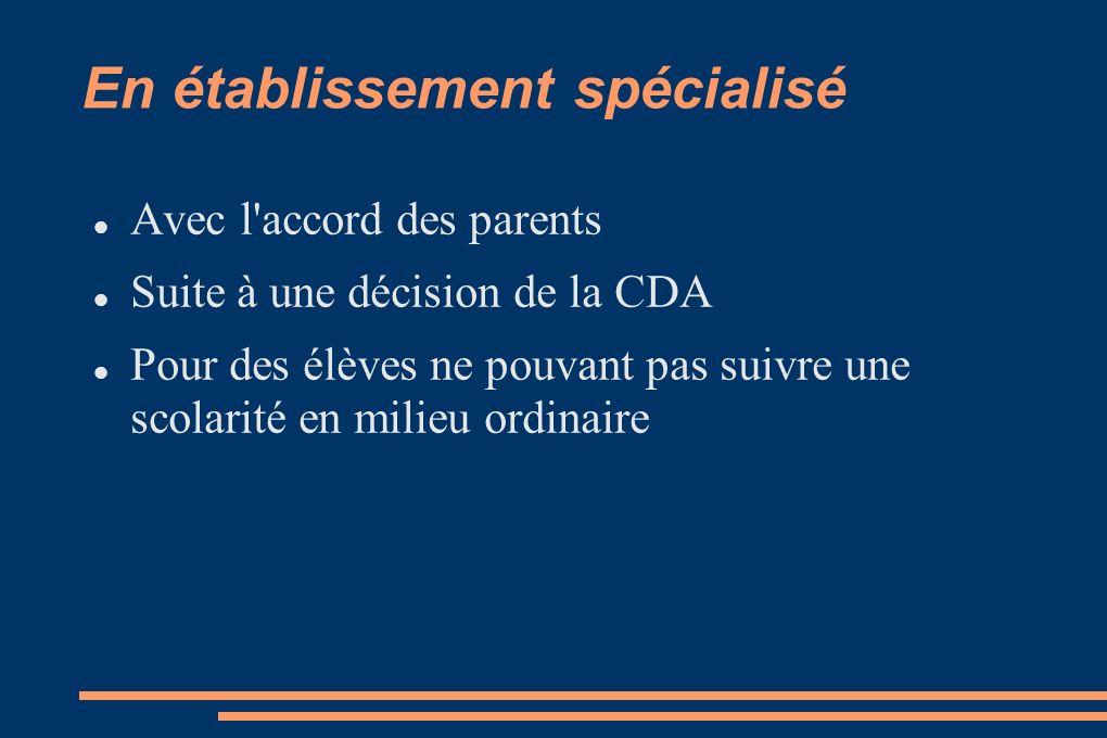En établissement spécialisé Avec l'accord des parents Suite à une décision de la CDA Pour des élèves ne pouvant pas suivre une scolarité en milieu ord