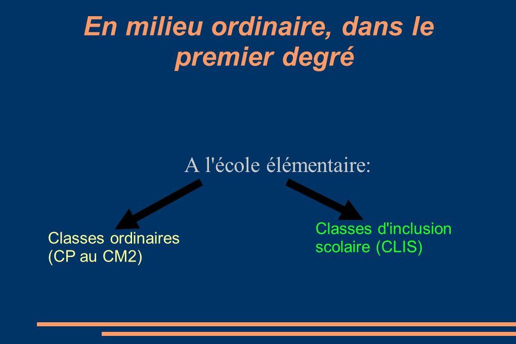 En milieu ordinaire, dans le premier degré A l'école élémentaire: Classes ordinaires (CP au CM2) Classes d'inclusion scolaire (CLIS)