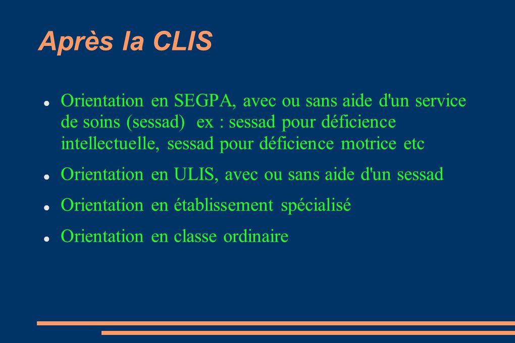 Après la CLIS Orientation en SEGPA, avec ou sans aide d'un service de soins (sessad) ex : sessad pour déficience intellectuelle, sessad pour déficienc