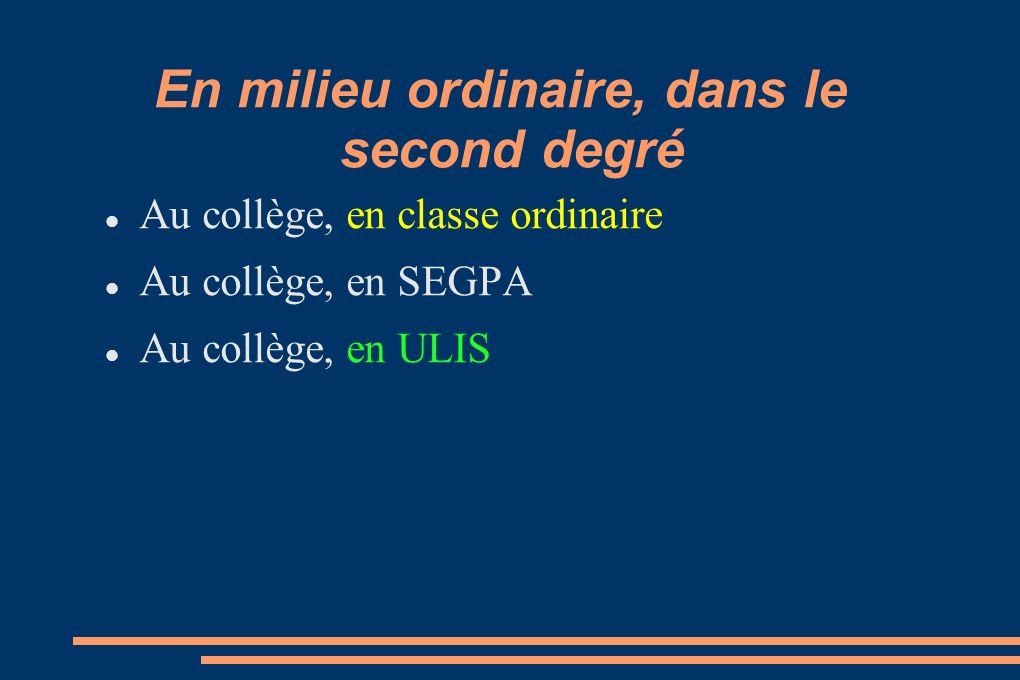 En milieu ordinaire, dans le second degré Au lycée (général ou professionnel), en classe ordinaire Au lycée (professionnel), en ULIS Pro