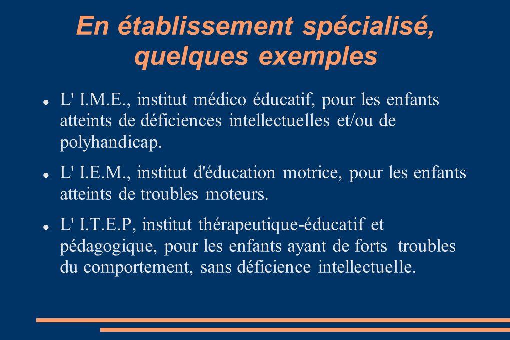 En établissement spécialisé, quelques exemples L' I.M.E., institut médico éducatif, pour les enfants atteints de déficiences intellectuelles et/ou de