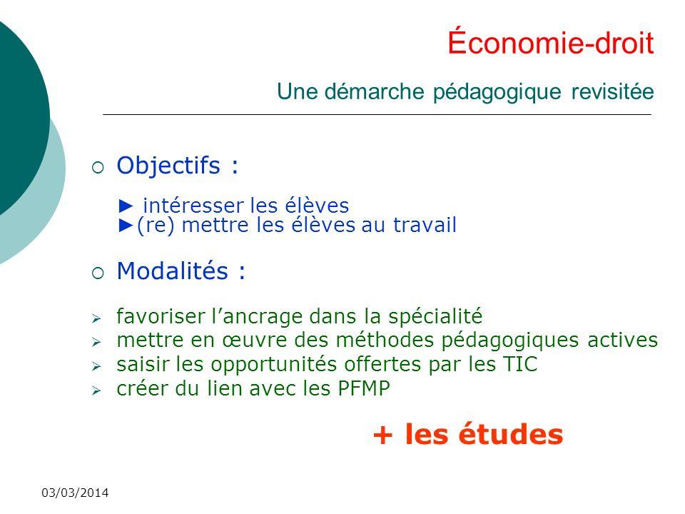 03/03/2014 Économie-droit Une démarche pédagogique revisitée Objectifs : intéresser les élèves (re) mettre les élèves au travail Modalités : favoriser