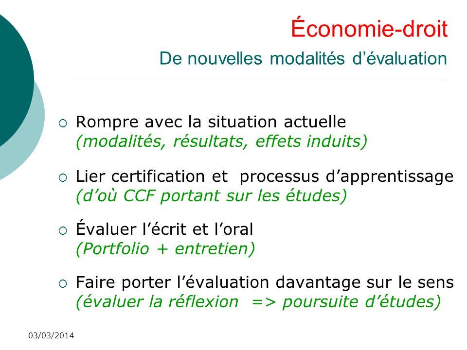 03/03/2014 Économie-droit De nouvelles modalités dévaluation Rompre avec la situation actuelle (modalités, résultats, effets induits) Lier certificati