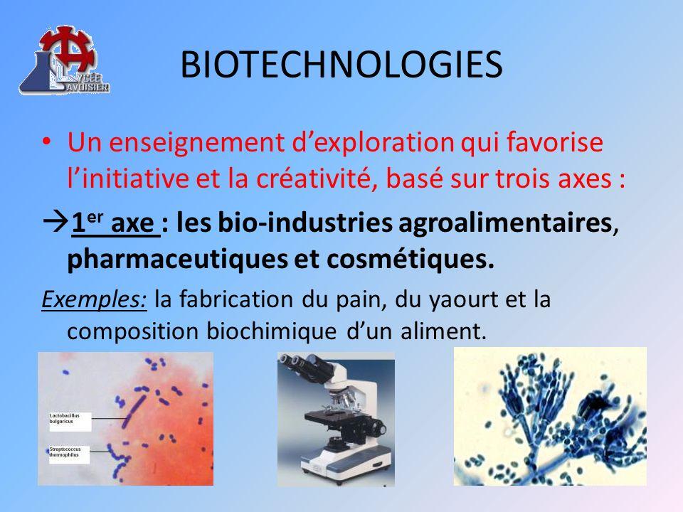 BIOTECHNOLOGIES 2 ème axe : la santé : diagnostic, traitement et prévention Exemples : analyses biologiques en vues dun diagnostic, traitement par antibiotiques, prévention et transmission des agents infectieux.