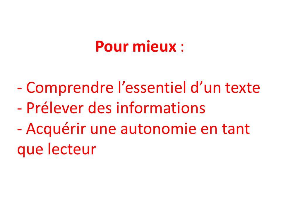 Pour mieux : - Comprendre lessentiel dun texte - Prélever des informations - Acquérir une autonomie en tant que lecteur