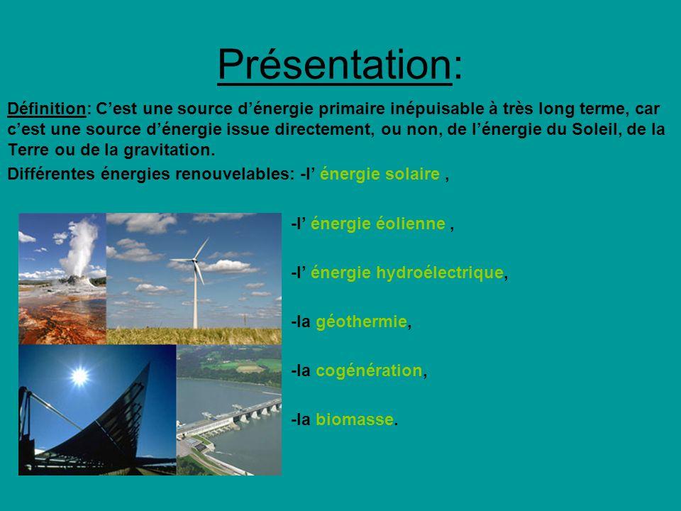 Présentation: Définition: Cest une source dénergie primaire inépuisable à très long terme, car cest une source dénergie issue directement, ou non, de lénergie du Soleil, de la Terre ou de la gravitation.