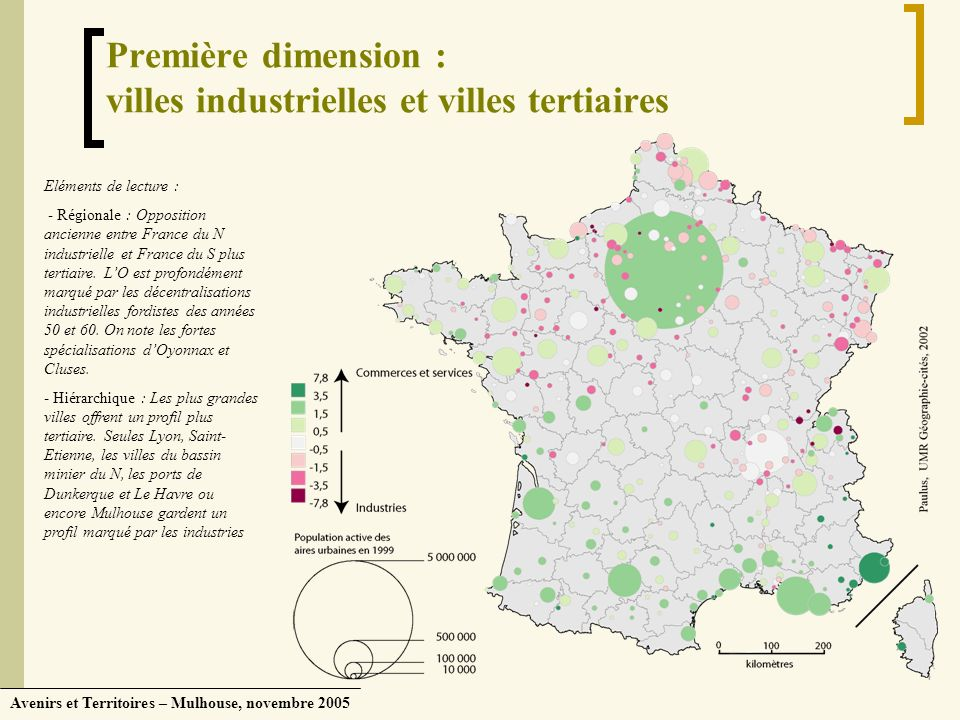 Avenirs et Territoires – Mulhouse, novembre 2005 Première dimension : villes industrielles et villes tertiaires Eléments de lecture : - Régionale : Op