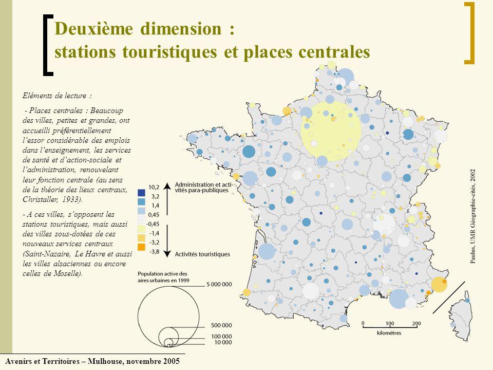 Avenirs et Territoires – Mulhouse, novembre 2005 Deuxième dimension : stations touristiques et places centrales Eléments de lecture : - Places central