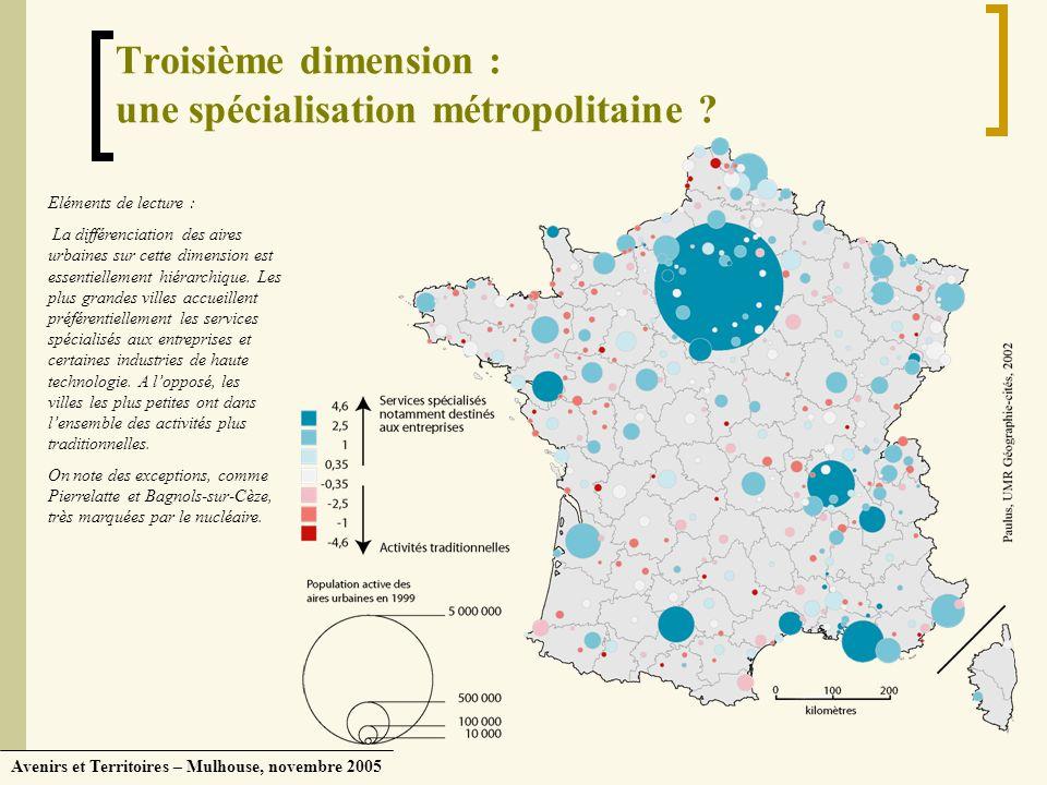 Avenirs et Territoires – Mulhouse, novembre 2005 Troisième dimension : une spécialisation métropolitaine ? Eléments de lecture : La différenciation de