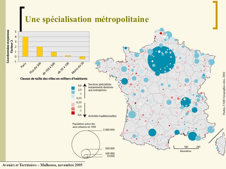 Avenirs et Territoires – Mulhouse, novembre 2005 Une spécialisation métropolitaine