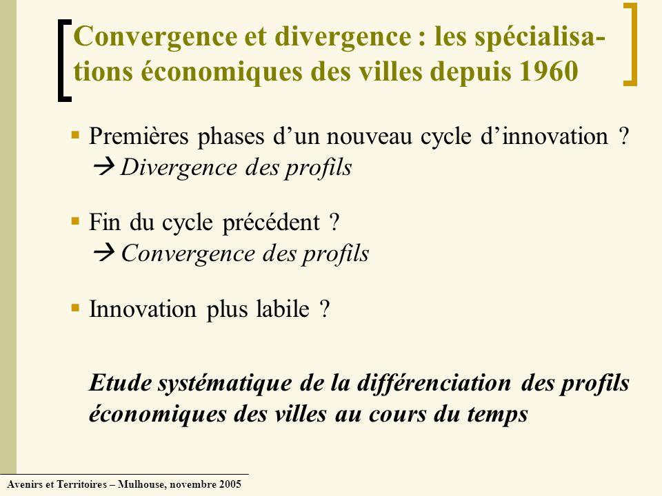 Avenirs et Territoires – Mulhouse, novembre 2005 Convergence et divergence : les spécialisa- tions économiques des villes depuis 1960 Premières phases