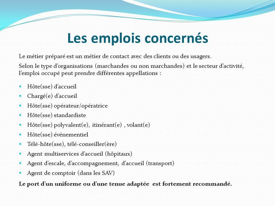 Les emplois concernés Le métier préparé est un métier de contact avec des clients ou des usagers.
