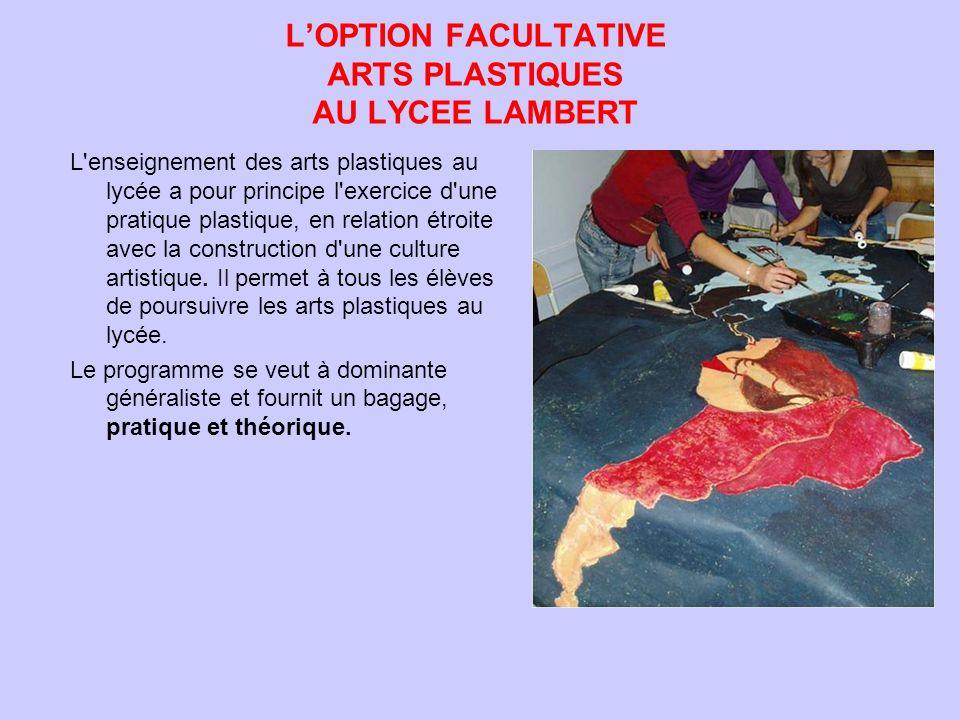 LOPTION FACULTATIVE ARTS PLASTIQUES AU LYCEE LAMBERT L'enseignement des arts plastiques au lycée a pour principe l'exercice d'une pratique plastique,