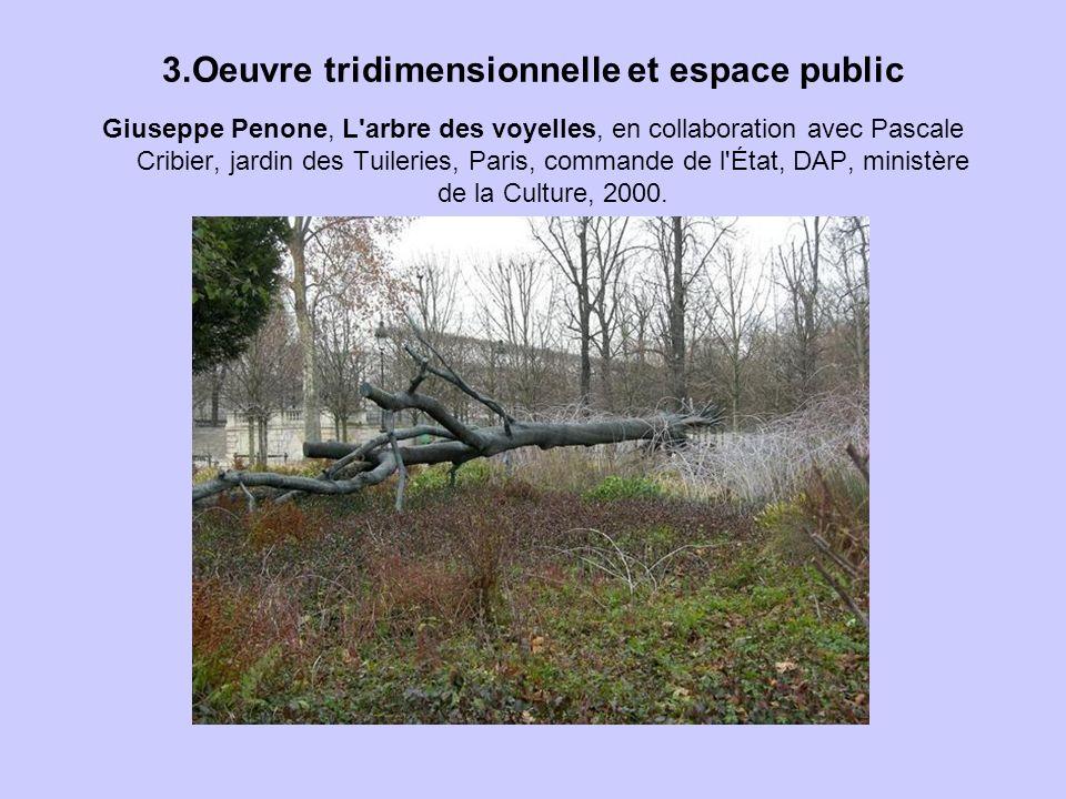 3.Oeuvre tridimensionnelle et espace public Giuseppe Penone, L'arbre des voyelles, en collaboration avec Pascale Cribier, jardin des Tuileries, Paris,