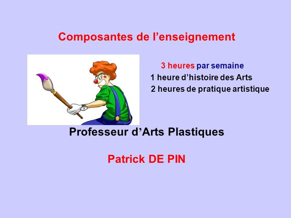 Composantes de lenseignement Professeur d Arts Plastiques Patrick DE PIN 3 heures par semaine 1 heure dhistoire des Arts 2 heures de pratique artistiq
