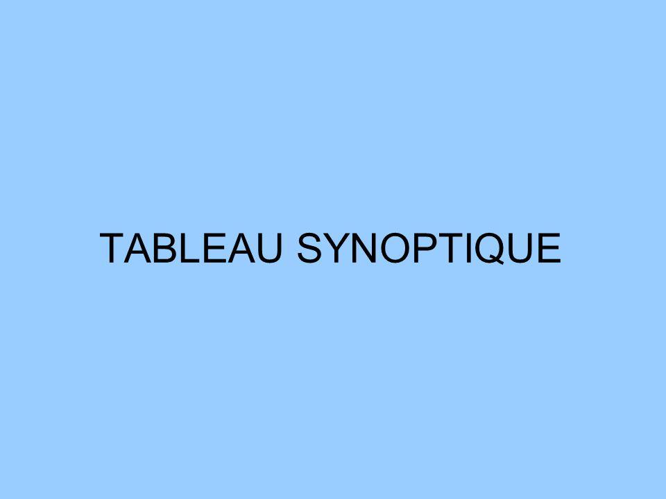 TABLEAU SYNOPTIQUE