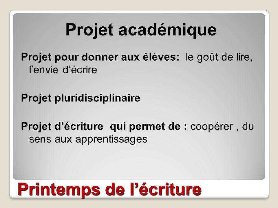 Printemps de lécriture Projet académique Projet pour donner aux élèves: le goût de lire, lenvie décrire Projet pluridisciplinaire Projet décriture qui