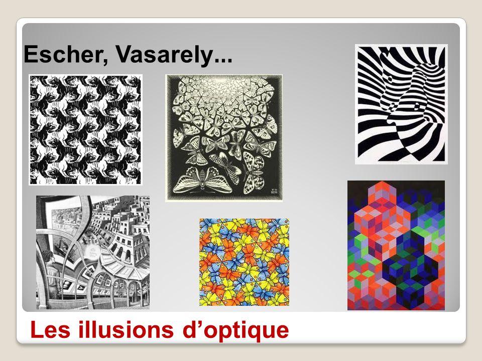 Les illusions doptique Escher, Vasarely …