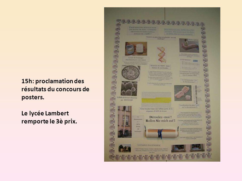 15h: proclamation des résultats du concours de posters. Le lycée Lambert remporte le 3è prix.