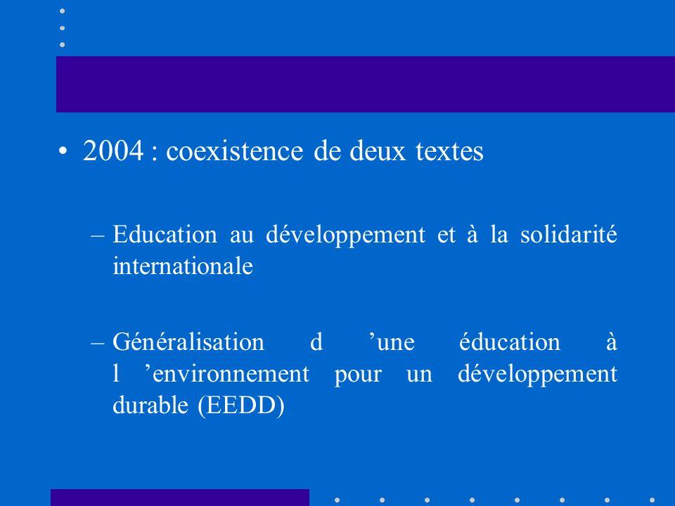 2003 : «Léducation au développement et à la solidarité internationale vise à faire comprendre les grands déséquilibres mondiaux et à permettre la réflexion sur les moyens dy remédier, afin que tous les peuples et toutes les personnes aient le droit de contribuer au développement et d en bénéficier».