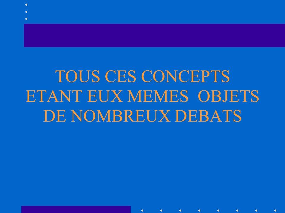 TOUS CES CONCEPTS ETANT EUX MEMES OBJETS DE NOMBREUX DEBATS
